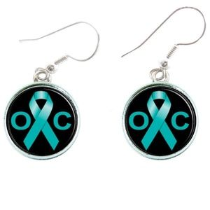 Ovarian Cancer Awareness Teal Ribbon Earrings